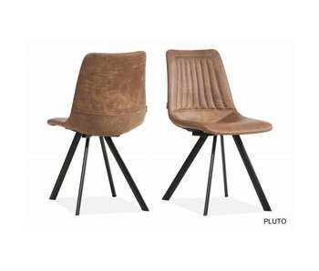 Dani | Chaise Pluto cognac avec des pieds de chaise noir