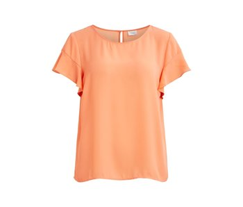 VILA Vilucy t-shirt met volant | fel rose | medium