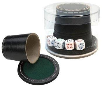Chapeau de poker cuir noir + couvercle + pierres de poker 9 cm