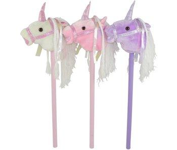 Stokpaardje Eenhoorn met geluid 80 cm wit, roze, paars