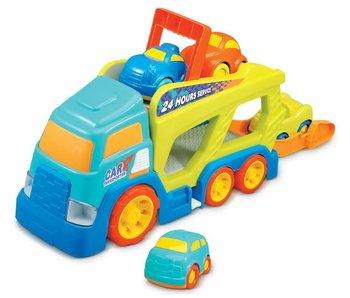 Car transporter + 4 auto's met licht en geluid