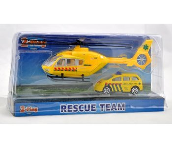 2-Play Die Cast helikopter 18cm + auto 7.5cm, 2assortiment