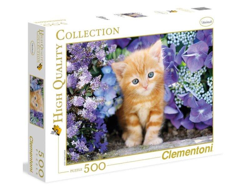 Puzzle 500 pièces -  Hqc -  chat roux en fleurs