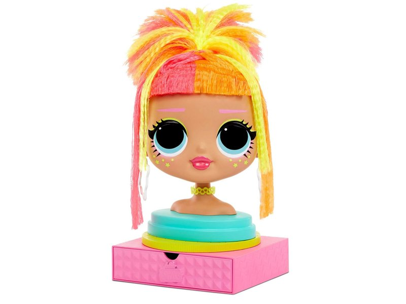 L.O.L. Surprise! O.M.G. Styling Head-Neonlicious with Stick-On Hair for Endless Styles