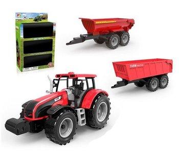 1:32 Tracteur avec 2 remorques 26x10x38,5cm assortiment