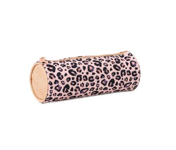 Mixed designs pennenzak rond 23 cm pink leopard