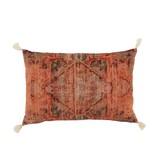 J-Line Coussin imprimé oriental coton corail 40x60 cm