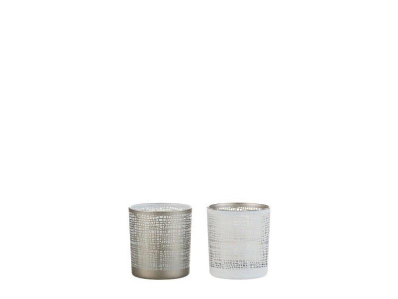 J-Line Photophore Ibiza verre blanc (7.3x7.3x8 cm)