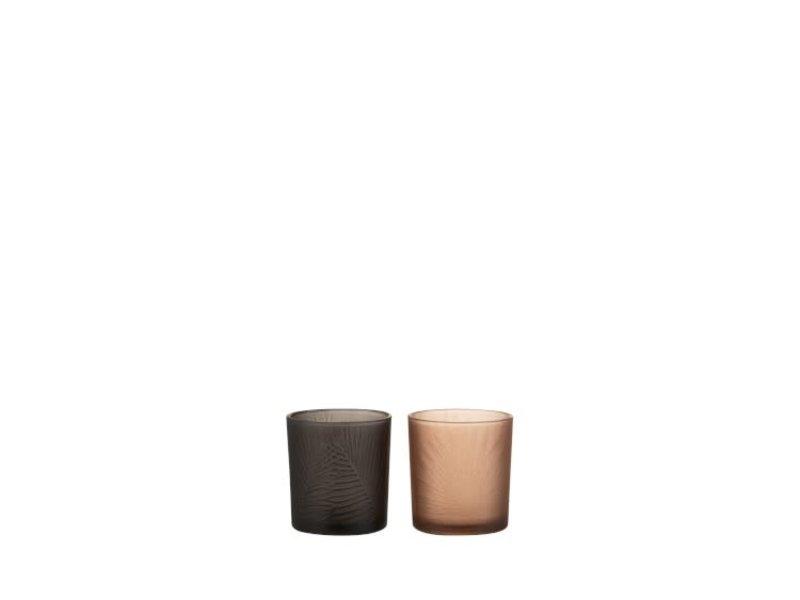 J-Line Tlh blad glas zwart (7.3x7.3x8 cm)
