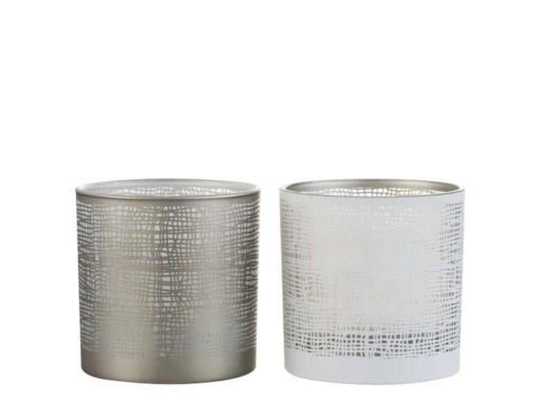 J-Line Windlicht Ibiza glas greige M (15x15x15 cm)