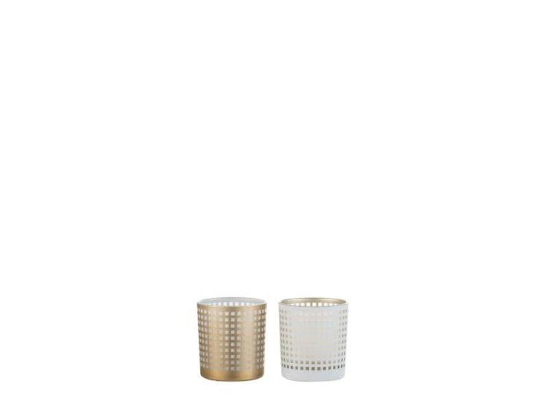 J-Line Windlicht patroon glas wit (7.3x7.3x8 cm)