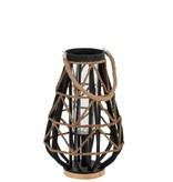 J-Line Lantaarn bamboe/glas zwart/nat S (32x32x48 cm)