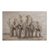 J-Line Schilderij 3 olifanten textuur br/gr (150x4.8x100 cm)