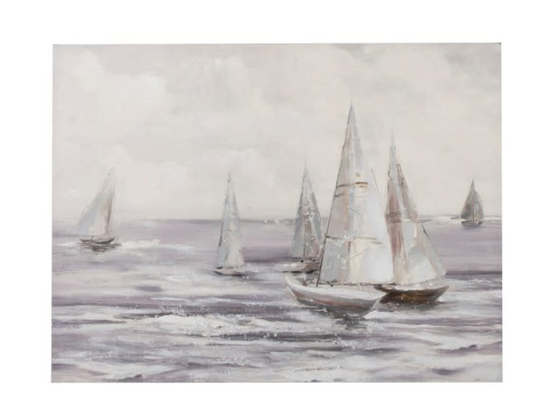 J-Line Schilderij zeilboten wit/gr (120x4x90 cm)