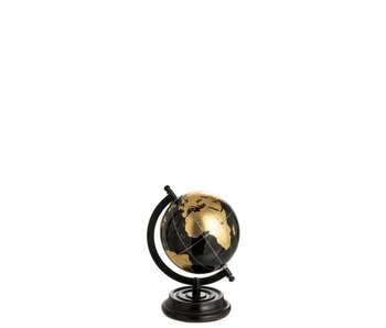 J-Line Wereldbol op voet hout zwart/goud s (15x17x22 cm)