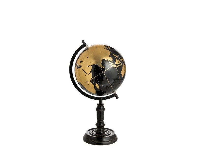 J-Line Wereldbol op voet hout zwart/goud M (25x25x41 cm)