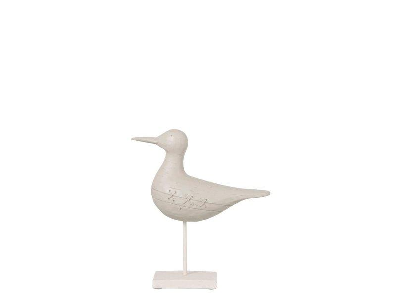 J-Line Vogel op voet pol wit S (23.5x8x26 cm)