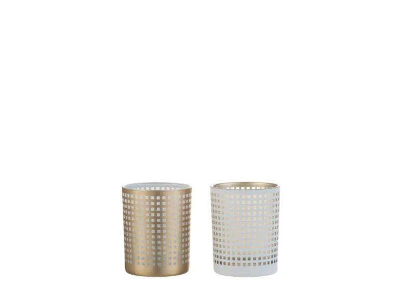 J-Line Windlicht patroon glas beige S (10x10x12.5 cm)