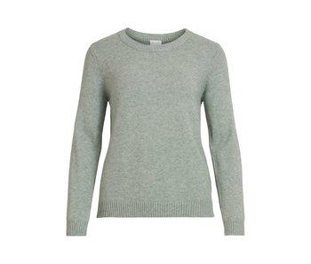 VILA Viril L/S O-neck knit top - Green Milieu - XS