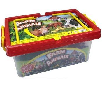 Boerderijdieren, inclusief plastic speelmat - 35 stukken