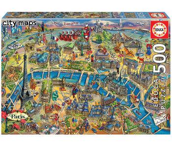 Educa Puzzel Kaart van Parijs - 500 stukjes
