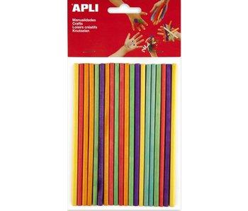 APLI Gekleurde houten prikkers 15x0.5cm 25st ass