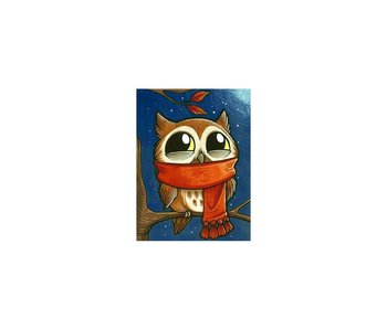 Dia paint WD2363- Owlet with Scarf 15x20 cm