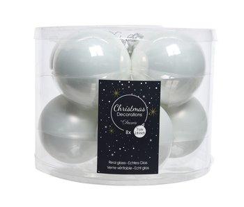 8 Kerstballen in koker/ winterwit  -  glas  - 7 cm