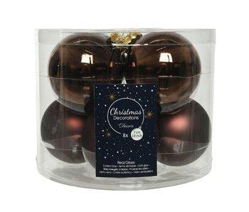 8 Kerstballen in koker/ donker bruin  -  glas  - 7 cm