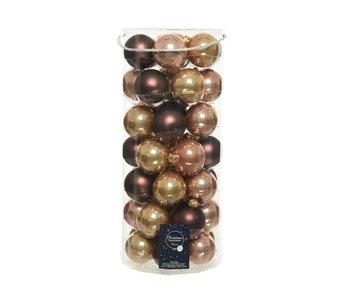 Koker a 49 kerstbal 60mm glas goud/bruin