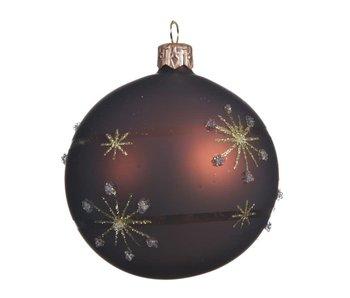 Kerstbal 8 cm lijn sneeuwvlok - donker bruin glas