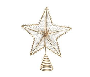 Kerstpiek Ster in ijzer dia20x23H cm  - goud