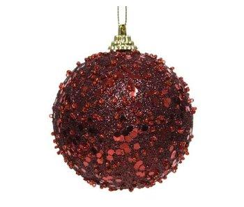 Kerstbal foam glitter ossenbloed -  8cm