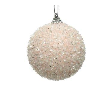 Kerstbal foam poeder roze  -  8cm