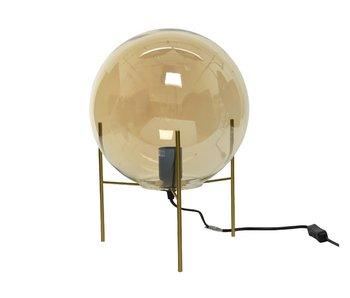 Tafellamp op voet amber - dia 25x25  - glas /ijzer