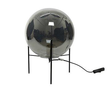 Tafellamp op voet rookgrijs - dia 25x25  - glas /ijzer