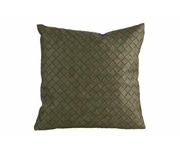 Kussen lederlook groen 40x40cm