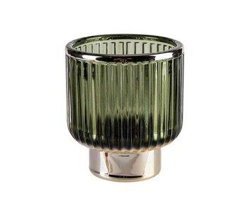 Theelichthouder Romieu donkergroen glas 8x8xh9 cm