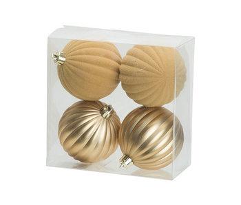 Kerstbal set4 mat velvet goud D8 cm kunststof