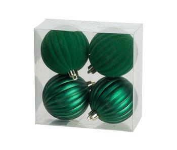 Kerstbal set4 mat velvet groen D8 cm kunststof