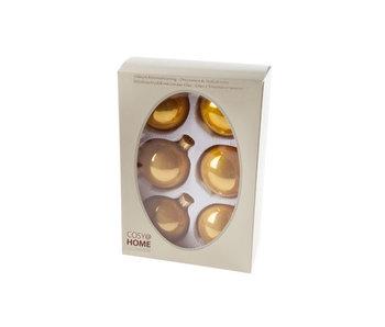 Kerstbal set6 pearl oker glas 7 cm