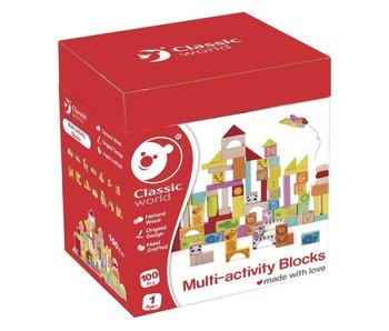 Classic Houten gekleurde blokken - 100 st