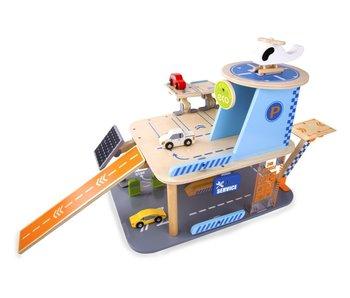 Garage en bois + 3 véhicles+1 hélicoptère