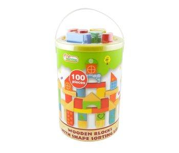 Houten blokken - kleur en naturel - 100 stukken