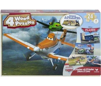 Puzzel Cars Vliegtuigen - 4 x24 stukjes in hout