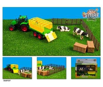 Boerderijspeelset - tractor 25 cm met accessoires