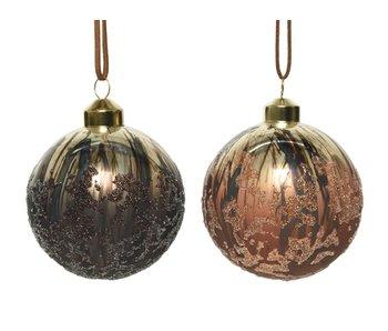 3 Kerstballen in BOX glas 8 cm antiek / 2 ass -