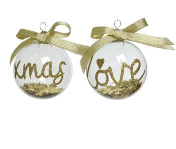 Kerstbal glas ster binnen 2ass. goud - 8cm