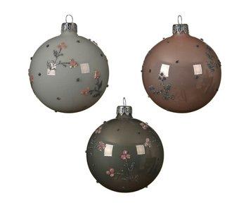 Kerstbal glas bew. bloem 3 ass.