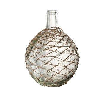 J-Line Vase Sphere Net Verre / Cordon Transparent / Jute